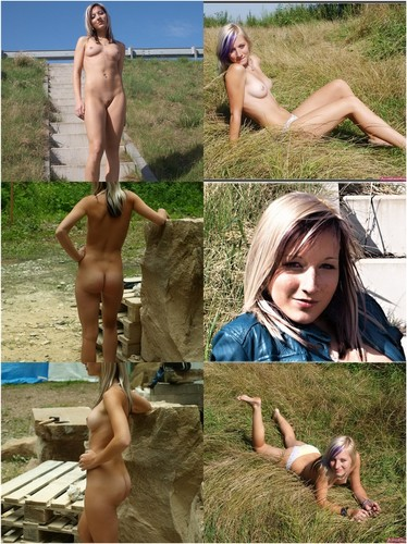 German Blond Teen Sabrina Makes Nude Pictures Outdoors